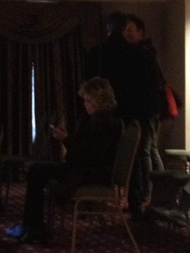 Jane Fonda, no less (apologies for poor image) makes a surprise appearance in the audience