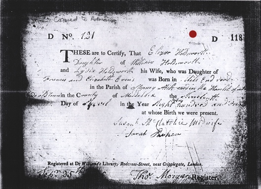 Eliza Holdsworth's birth registration certificate