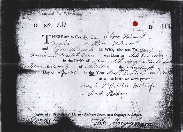 Eliza Holdsworth's birth registration certificate