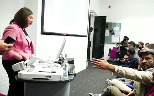 Human rights campaigner Maryam Namazie being heckled at Goldsmiths College