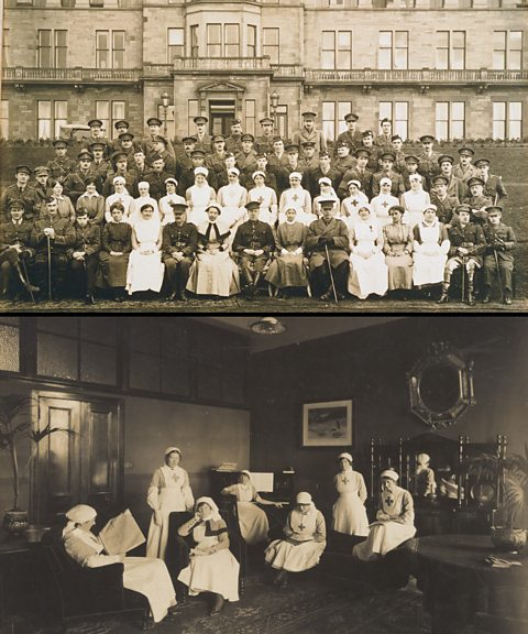 Staff and patients at Craiglockhart Hospital during the First World War (via bbc.co.uk)