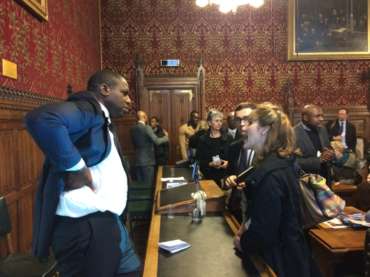 David Lammy MP talks to participants at the APPG meeting