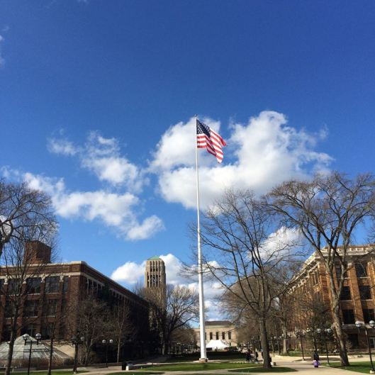 Flag pole on the 'Diag', University of Michigan campus, Ann Arbor